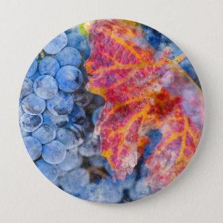 Badge Rond 10 Cm Raisins sur la vigne pendant la saison d'automne