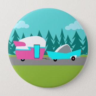 Badge Rond 10 Cm Rétro bouton de campeur/remorque et de voiture