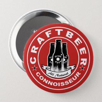 Badge Rond 10 Cm Rouge de connaisseur de bière de métier