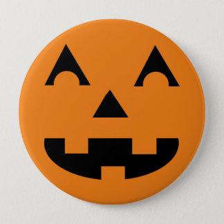 Badge Rond 10 Cm Visage de citrouille de Halloween Jack-o'-lantern