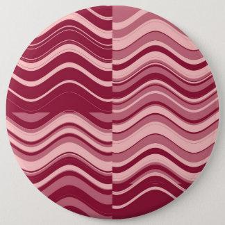 Badge Rond 15,2 Cm Abrégé sur rouge-foncé d'art rétro et rose vague