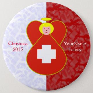 Badge Rond 15,2 Cm Blanc rouge blond d'ange suisse de drapeau