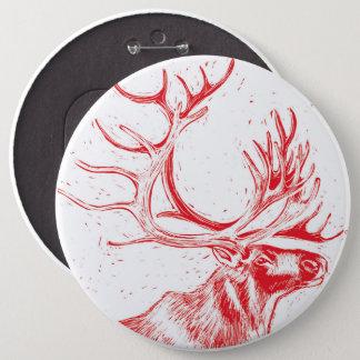 Badge Rond 15,2 Cm Bouton de Reindeer Toile de Jouy Colossal