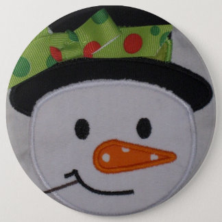 Badge Rond 15,2 Cm Bouton de vacances de bonhomme de neige