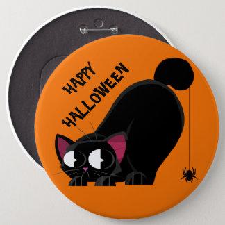 Badge Rond 15,2 Cm Chat noir et araignée de Halloween