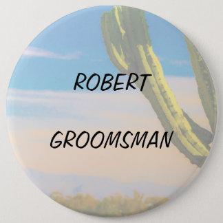 Badge Rond 15,2 Cm Ciel bleu Groomsman de cactus de désert