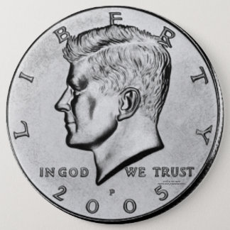 Badge Rond 15,2 Cm Demi-dollar de Kennedy