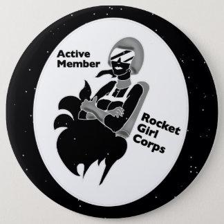 Badge Rond 15,2 Cm FILLE de ROCKET avec des étoiles