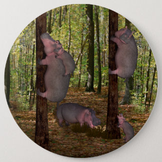 Badge Rond 15,2 Cm Hippopotames drôles de Koala-Aspirant