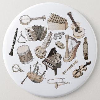 Badge Rond 15,2 Cm Instruments de musique