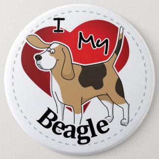 Badge Rond 15,2 Cm J'aime mon chien drôle et mignon adorable heureux