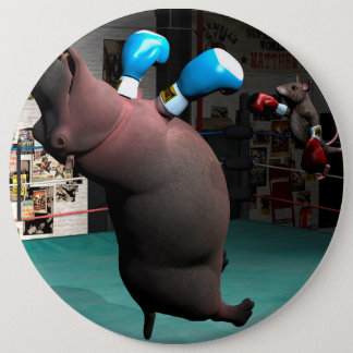 Badge Rond 15,2 Cm La souris bat l'hippopotame KO