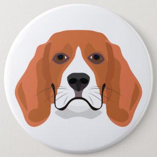 Badge Rond 15,2 Cm L'illustration poursuit le beagle de visage
