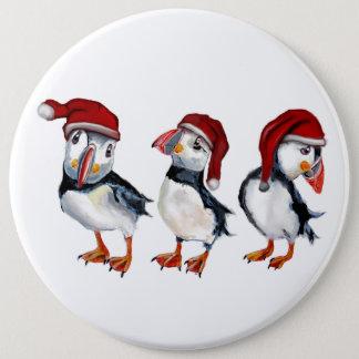 Badge Rond 15,2 Cm Macareux de Noël