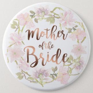 Badge Rond 15,2 Cm Mère du bouton floral de jeune mariée
