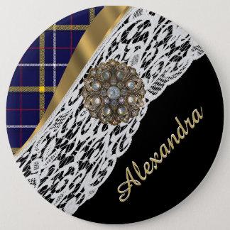 Badge Rond 15,2 Cm Motif écossais bleu de plaid de tartan et dentelle