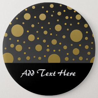 Badge Rond 15,2 Cm Points modernes d'or sur l'arrière - plan noir