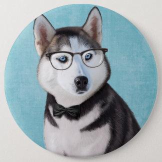 Badge Rond 15,2 Cm Portrait de chien de traîneau sibérien