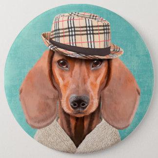 Badge Rond 15,2 Cm Portrait de M. Dachshund