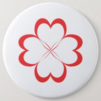 Badge Rond 15,2 Cm Quatre coeurs !