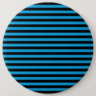 Badge Rond 15,2 Cm Rayures (lignes parallèles) - noir bleu