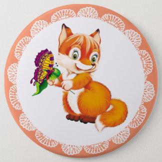 Badge Rond 15,2 Cm renard et papillon