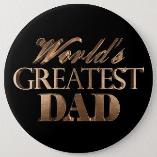 Badge Rond 15,2 Cm Typographie noire élégante d'or du plus grand papa