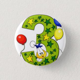 Badge Rond 2,50 Cm 3ème bouton d'anniversaire
