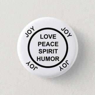 Badge Rond 2,50 Cm Amour, paix, esprit, humour, joie - bouton de