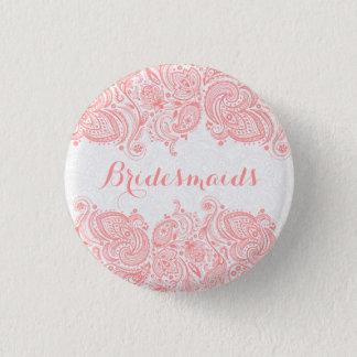 Badge Rond 2,50 Cm Arrière - plan rose de blanc de dentelle de