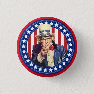 Badge Rond 2,50 Cm Bannière étoilée d'Oncle Sam