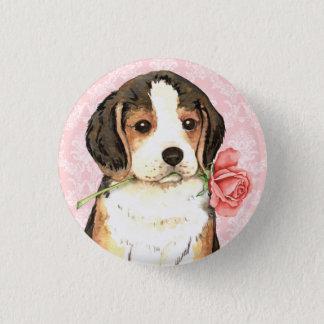 Badge Rond 2,50 Cm Beagle rose de Valentine