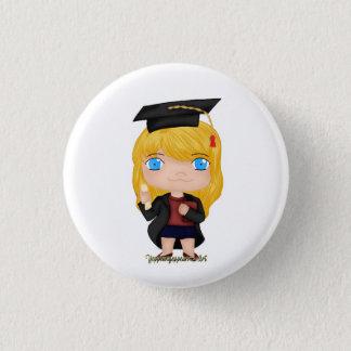 Badge Rond 2,50 Cm Blonde de fille d'obtention du diplôme (b)