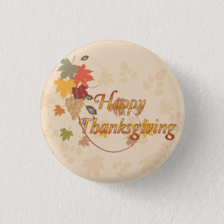 Badge Rond 2,50 Cm Bon thanksgiving - feuille, raisins et rubans