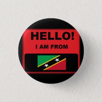 Badge Rond 2,50 Cm Bonjour je suis de St Kitts et d'insigne du Niévès