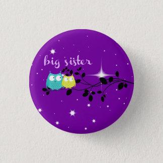 """Badge Rond 2,50 Cm bouton crépusculaire de """"grande soeur"""" de hibou !"""
