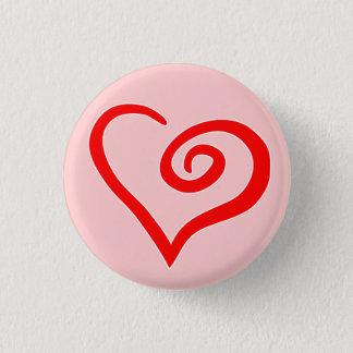 Badge Rond 2,50 Cm Bouton de coeur