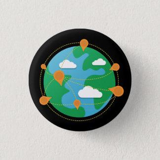 Badge Rond 2,50 Cm Bouton de globe de jour d'éraflure (noir)