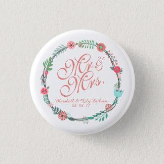 Badge Rond 2,50 Cm Bouton l'épousant floral élégant personnalisé de