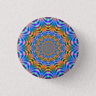Badge Rond 2,50 Cm Bouton psychédélique orange et bleu d'anneaux