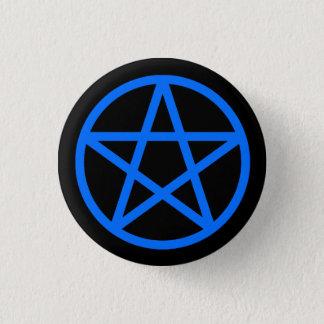 Badge Rond 2,50 Cm Bouton solide de pentagramme de noir bleu
