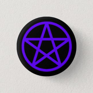 Badge Rond 2,50 Cm Bouton solide noir violet pourpre de pentagramme
