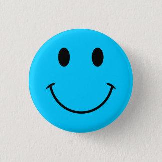 Badge Rond 2,50 Cm Bouton souriant bleu de visage d'Aqua