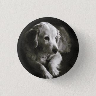 Badge Rond 2,50 Cm Bouton triste noir et blanc de Pin du chien |