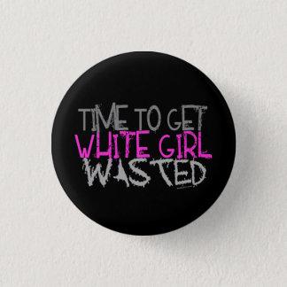 Badge Rond 2,50 Cm Boutons gaspillés par fille blanche