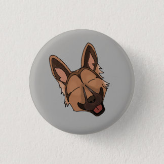 Badge Rond 2,50 Cm Brown et sourire bronzage de chien de berger