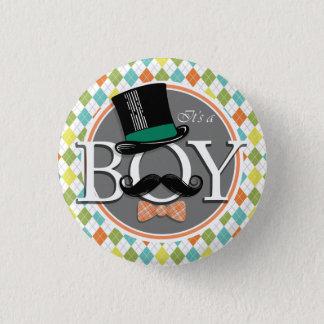 Badge Rond 2,50 Cm C'est un garçon !  Jacquard coloré