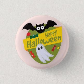 Badge Rond 2,50 Cm Chauve-souris heureuse de Halloween et bouton de