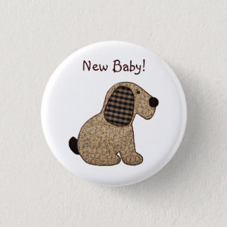 Badge Rond 2,50 Cm Chiot mignon de patchwork de guingan de Brown