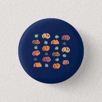 Badge Rond 2,50 Cm Citrouilles avec le petit bouton rond de feuille